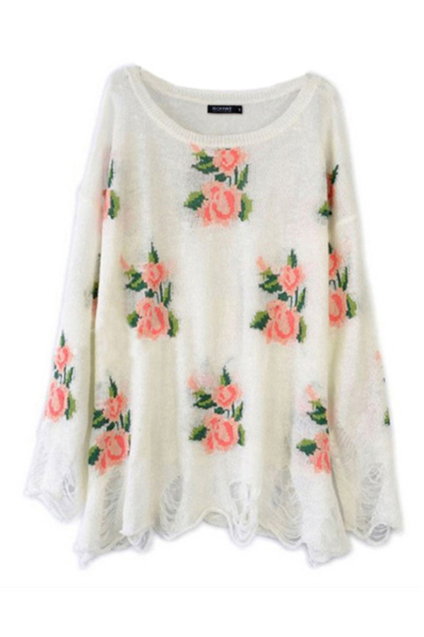 sweater floral pink white ripped grunge cute