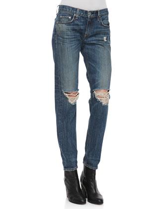 rag & bone/JEAN Boyfriend Buckley Ripped-Knee Jeans - Bergdorf Goodman