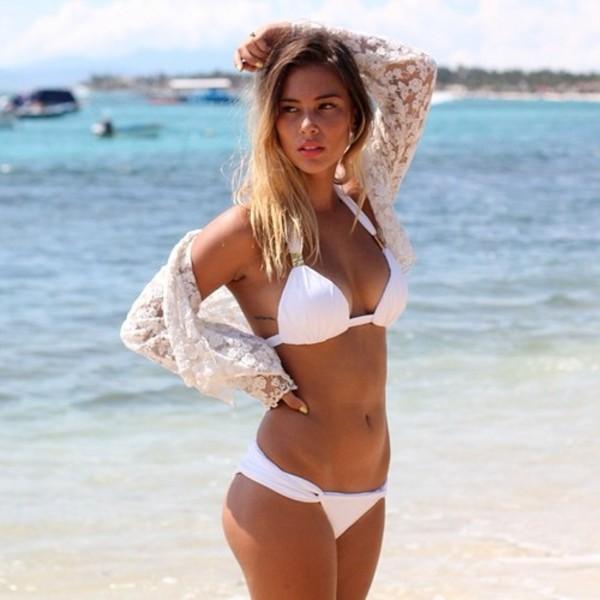 swimwear hot bikini white summer two-piece tank top