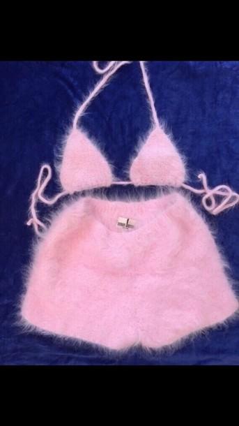 Furry in panties bra Shorts Short Furry Shorts Furry Bra Pink Two Piece Top Fur Swimwear Bikini Top 2piece Dress Two Piece Bikini Underwear Baby Pink Fuzzy Sweater Bra Bralette Pants Panties Hot Hot Pants Pastel Pastel Pink
