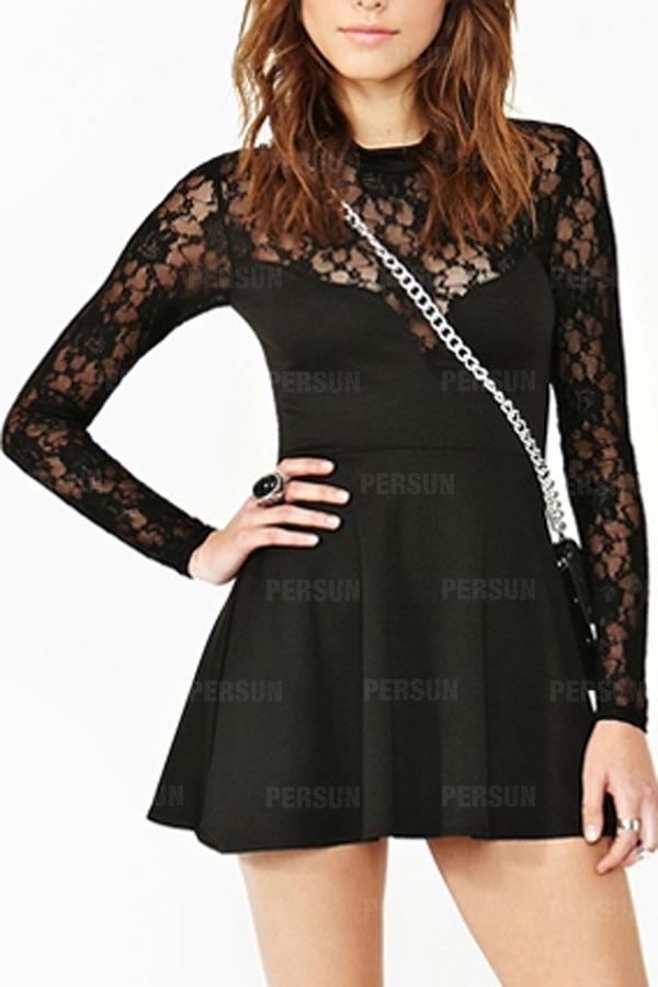 Lace High Waist Flouncing Dress in Black [FXBI00504] - PersunMall.com