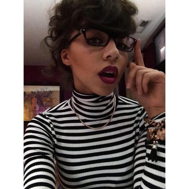 shirt black and white turtleneck stripes
