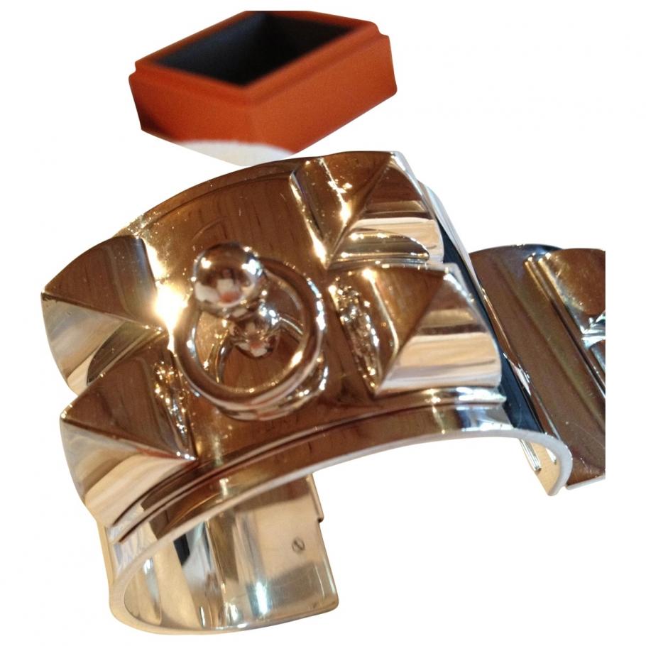 Hermes silver dog collar bracelet HERMÈS Silver in Silver All seasons - 674624