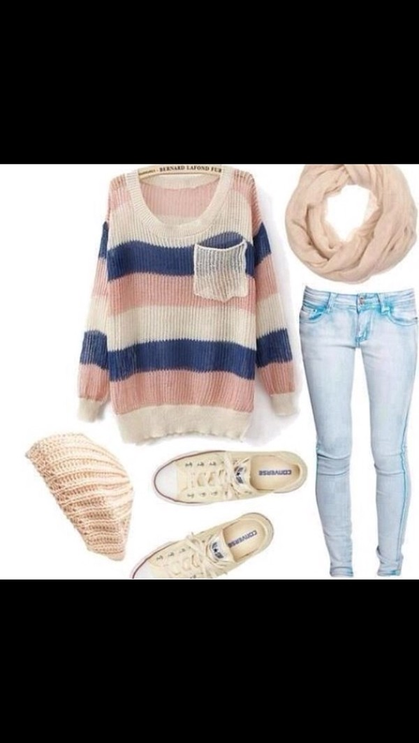 jeans scarf shirt