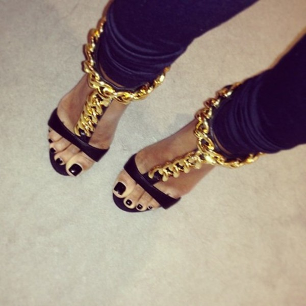 shoes heels gold chain leather funny sexy sandals hight heels chaine black maximum 30€ free shipping livraison en france gold shoes bling high heels jewelry