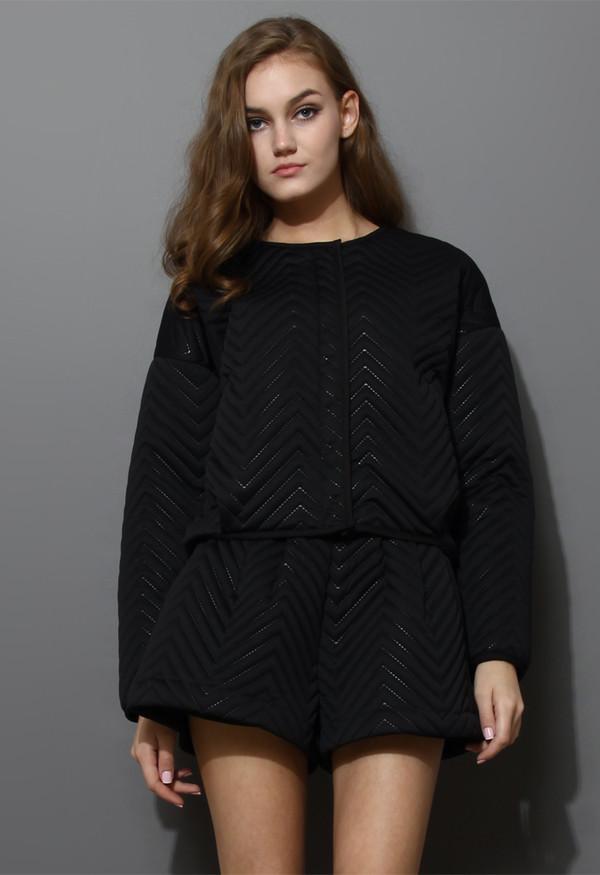 dress zig zag quilted black jacket short set