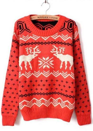Orange Long Sleeve Deer Print Loose Pullovers Sweater