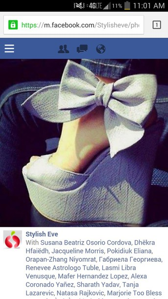 shoes bow wedges