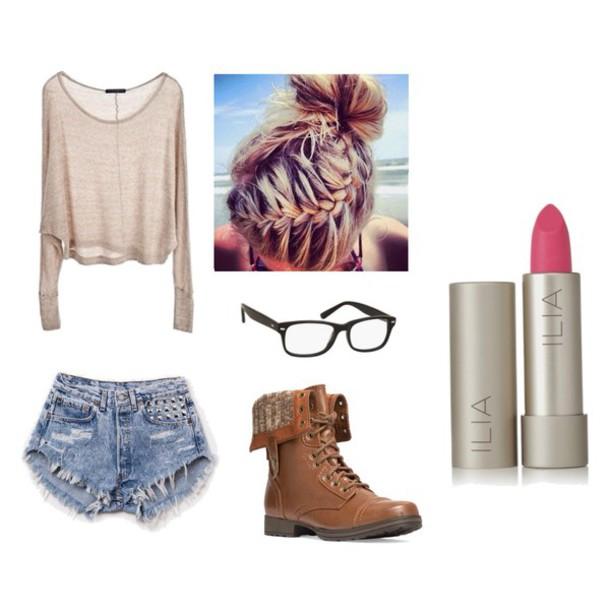 make-up cute shirt nerd glasses sunglasses
