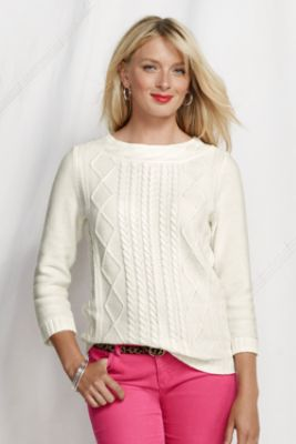 Women's 3/4-sleeve Lofty Cotton Cable Trim Crewneck from Lands' End