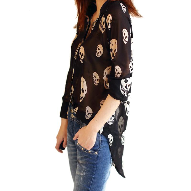 Women SEE Through Chiffon Blouse Button Down Shirt Long Sleeve Skull Tops Lapel | eBay