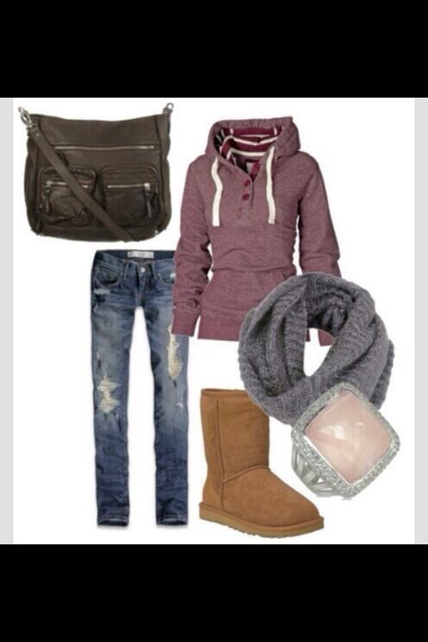sweater jeans bag scarf jewels