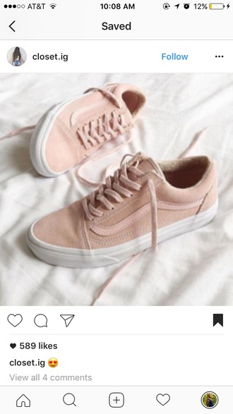 shoes vans pastel pink suede