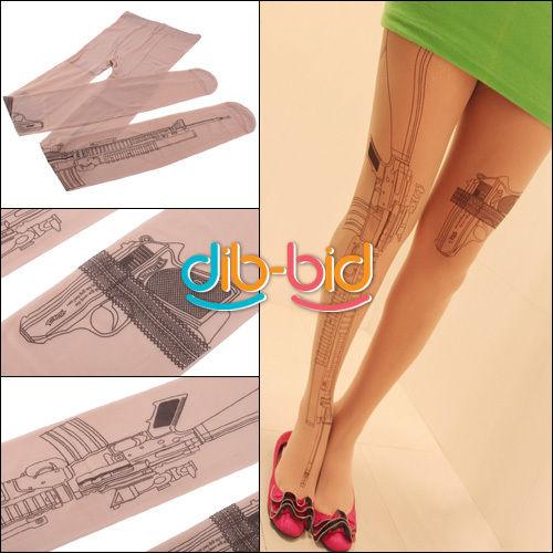 Tattoo Socks Transparent Sexy Machine Gun Pantyhose Stockings Tights Leggings | eBay