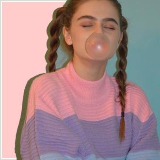 sweater bubblegum cute pastel grunge turtleneck colorblock oversized sweater pastel goth pastel sweater pastel pink lilac lavender baby blue braid