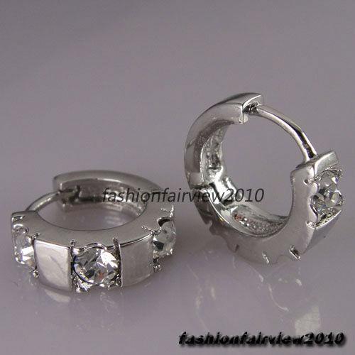 New 18K White Gold GP Clear White Crystal Hoop Cuff Ear Studs Earrings IE006A   eBay