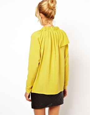 ASOS | ASOS Blouse With Gathered Neck And Asymmetric Layer at ASOS