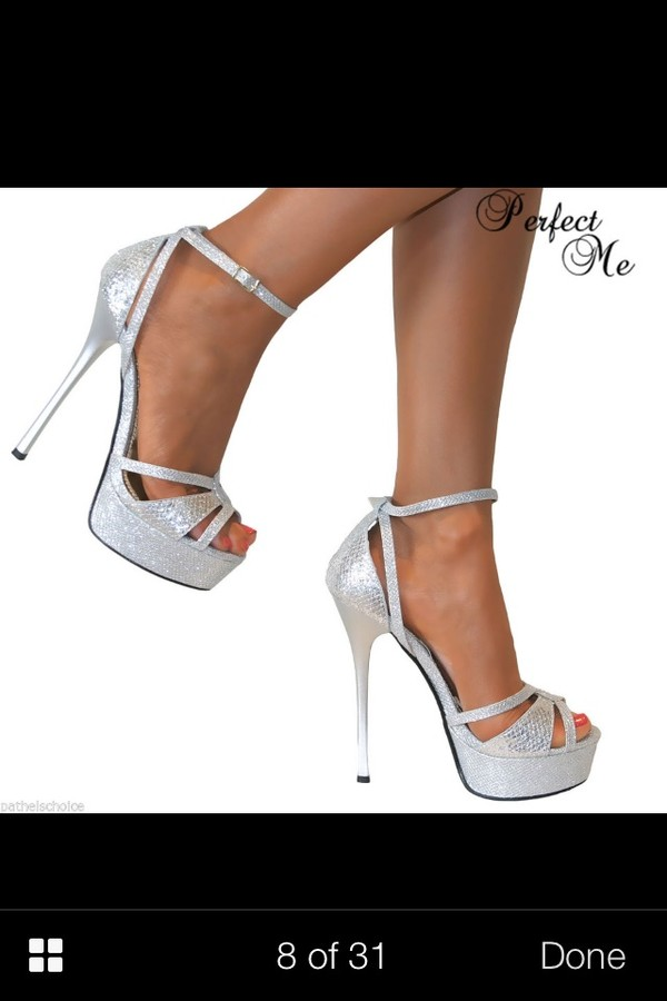 shoes prom shoes high heels platform heels diamonds silver heels glittery heels