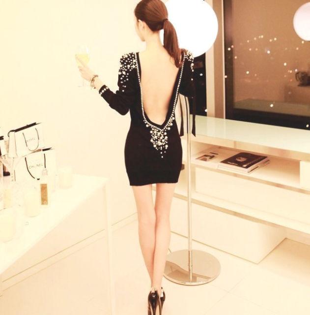 2013 Lady Luxury Pearls Beaded Sexy Deep V Backless Long Sleeve Short Mini Dress | eBay