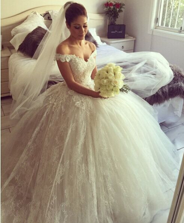 Aliexpress Buy Romantic Sweetheart Off The Shoulder With Flowers Lace Arabic Ball Gown