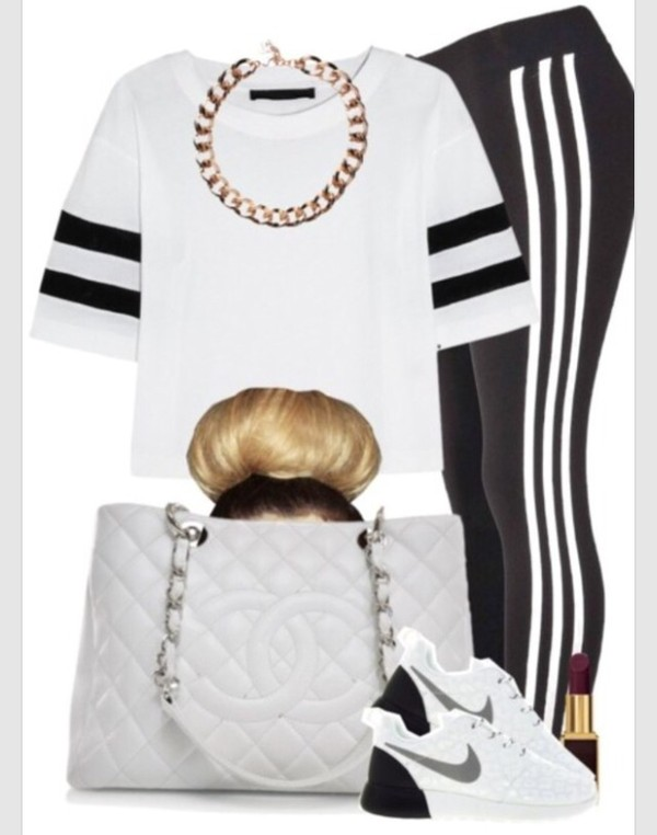 t-shirt white black band swag classy cool girl style fashion glamour glamour cool jewels leggings bag cardigan coat dress jeans shoes
