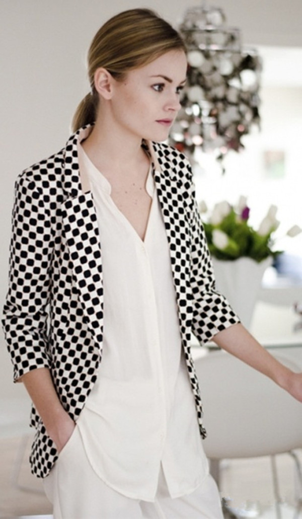 jacket polka dots checkered coat fashion clothes top black white blazer