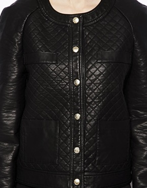 Mango | Mango Quilted Leather Look Jacket at ASOS