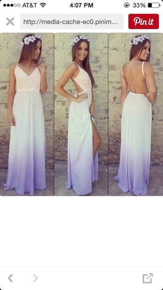 dress maxi dress ombre orange and purple