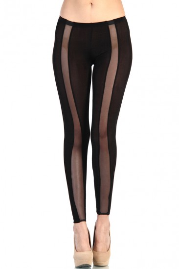 LoveMelrose.com From Harry & Molly | Mesh Curve Cut Out Leggings - Black