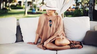 stephanie sterjovski - life + style blogger dress hat shoes sunglasses pleated dress sandals felt hat nude dress