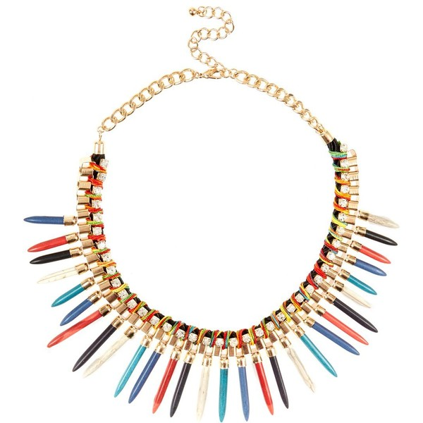 Gold Contrast Spike Necklace - Polyvore