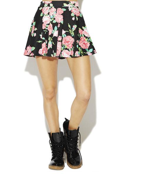 Floral Ponte Skater Skirt | Wet Seal