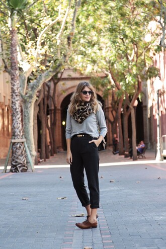 my daily style pants sweater belt scarf bag shoes