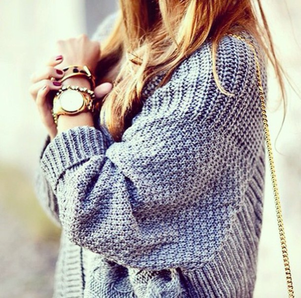 sweater winter sweater winter outfits grey sweater grey knitted sweater knitwear pullover cozy jewels gold jewelry gold watch watch