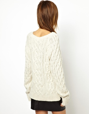 Y.A.S | Y.A.S Cosy Cable Knit Sweater in Angora at ASOS