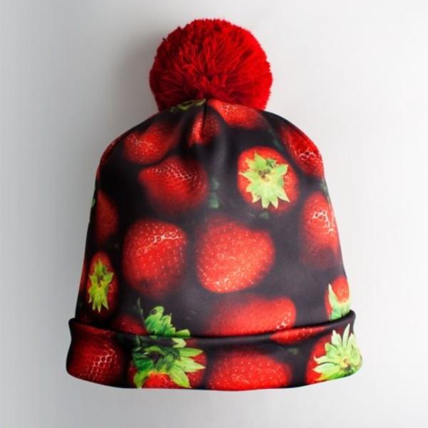 hat pom pom beanie strawberry red