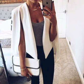 jacket cut-out white blazer white blazer jeans purse bag outfit outfit idea fall outfits office outfits blanket stitch clutch white clutch blanket stitch clutch