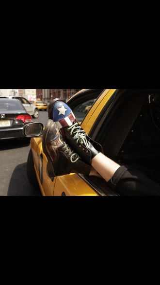 shoes boots red white and blue black boots black shoes captain america