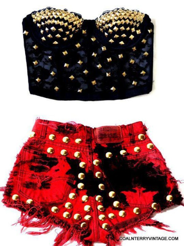 tank top black bralette bralette red studded shorts spikes sexy corset top crop tops burgundy