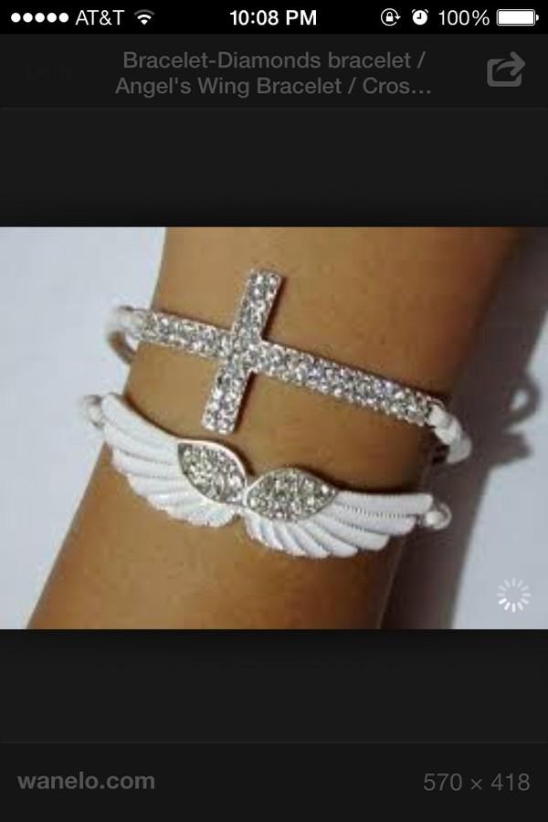 jewels angel wings braclet white cross sparkle jewelry