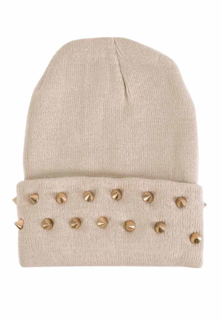 Women's ladies spike/stud embellished tall knitted beanie hats/beanies | eBay