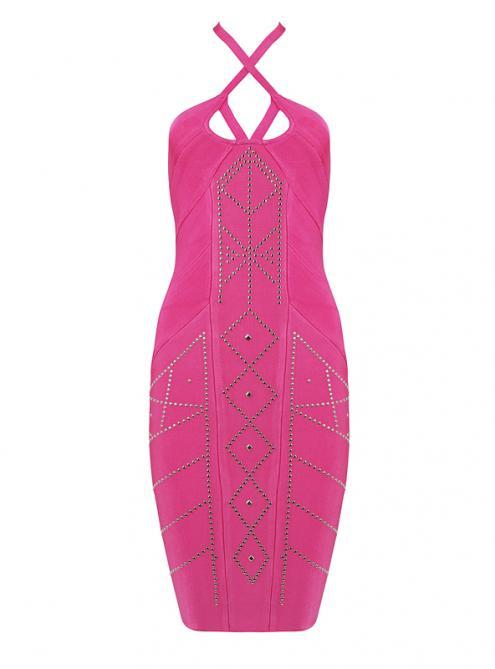 Pink Beaded Strap Bandage Dress H921$139