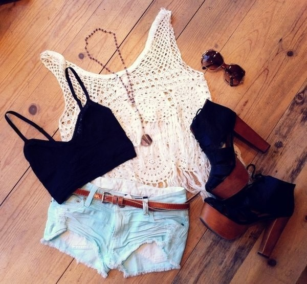 shoes clothes wedges brown style look shorts shirt dress