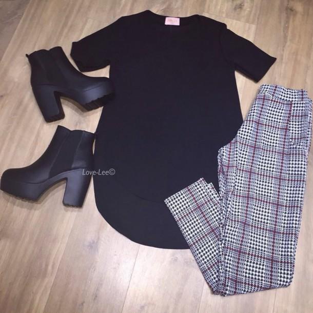 shoes heels boots black boots leggings tartan black top style outfit top shirt dress