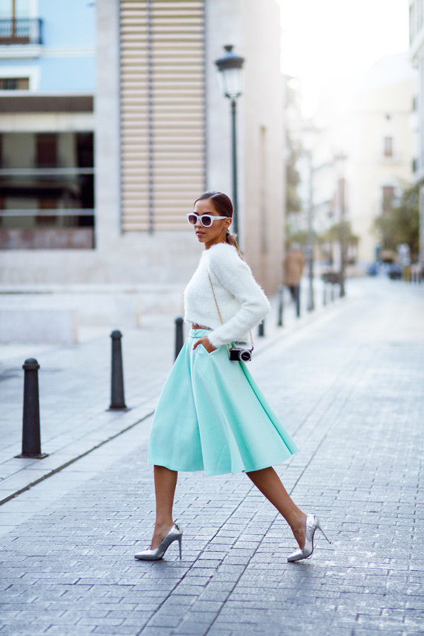 kenza skirt sweater shoes sunglasses