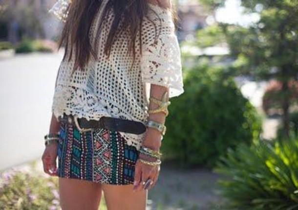 aztec skirt aztec green skirt blue skirt red skirt yellow skirt white skirt black skirt jewels skirt shirt hippie crochet white lace