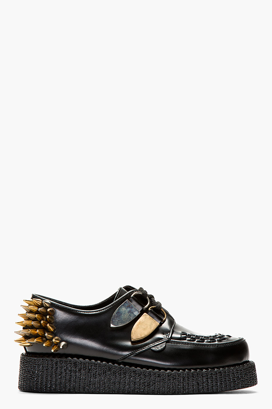 underground ssense exclusive black leather spiked creepers