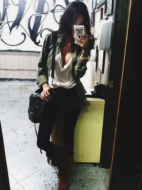 jacket army green jacket shirt bag shoes jewels coat blouse