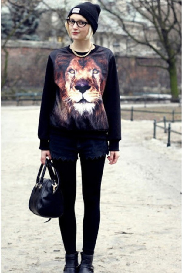tiger printed lion printed sweatershirt kcloth leopard sweater black sweatshirt lion