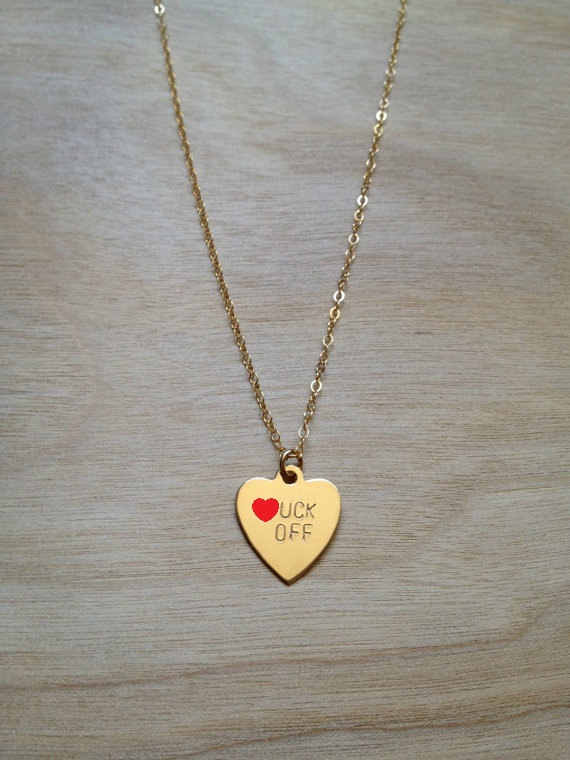 F.CK OFF Heart Necklace by BunniesInLA on Etsy